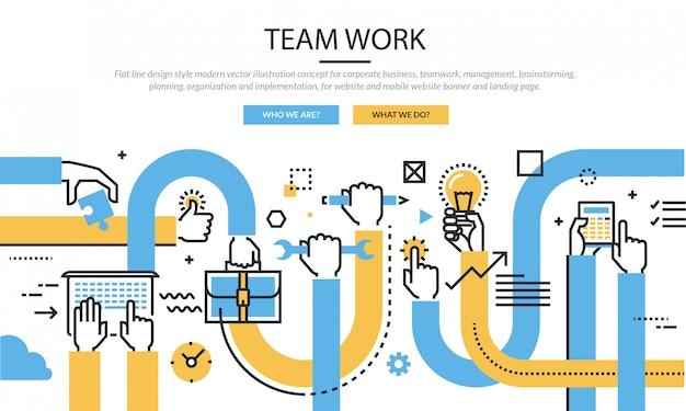 Team werk infographic icon set banner