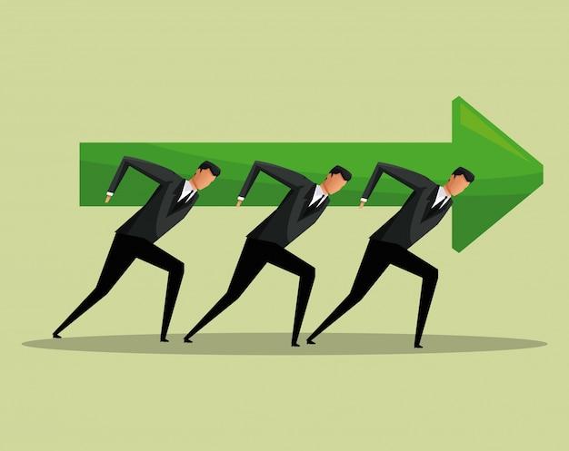 Team werk mannen pijl groei concept samenwerking