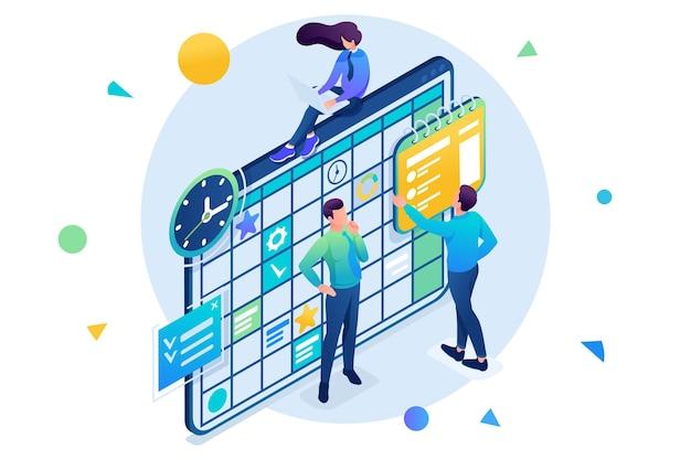 Team werkt aan het businessplan, medewerkers vullen de kalendervelden in. 3d isometrisch. concept voor webdesign.