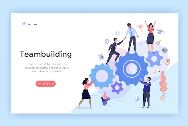 Teambuilding concept illustratie perfect voor webdesign banner bestemmingspagina vector plat ontwerp