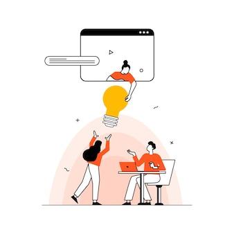 Teambuilding concept illustratie perfect voor webdesign banner mobiele app bestemmingspagina vector