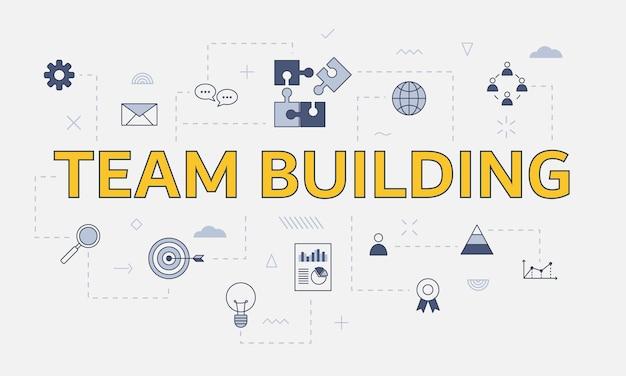Teambuilding concept met pictogrammenset met groot woord of tekst op centrum vectorillustratie