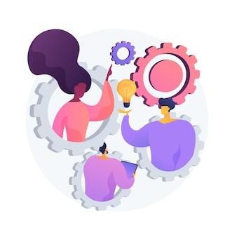 Teambuilding-oefening. idee-generatie, brainstorm, ontwikkeling van businessplan. productief teamwerk, samenwerking met collega's, creatief ondernemerschap.