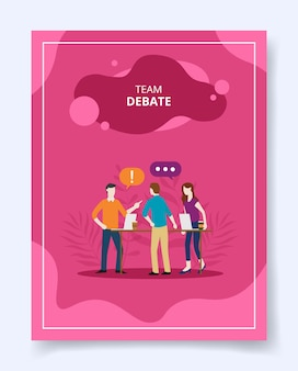 Teamdebat mensen staan dialoog praten spreken