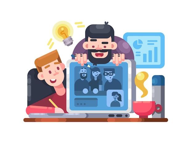 Teamgroepbijeenkomst op afstand via video op laptops. webconferentie. vector illustratie
