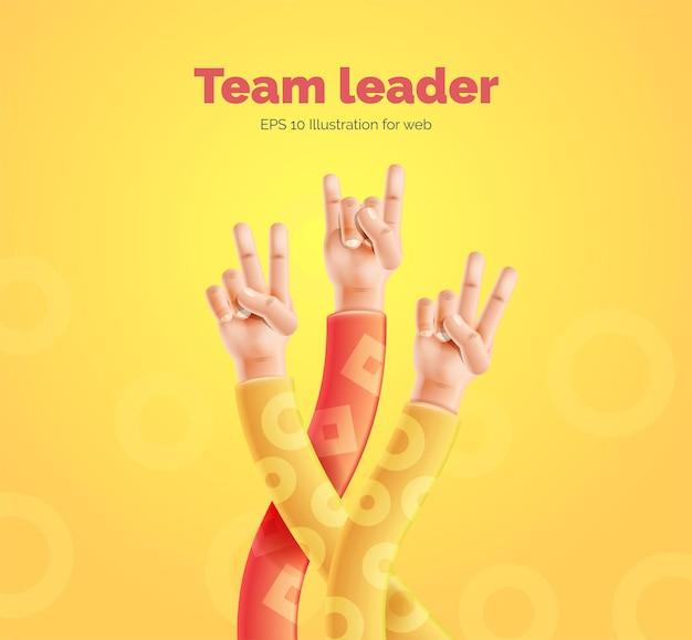 Teamleider vectorillustratie van handen opgewekt met verschillende gebaren Premium Vector