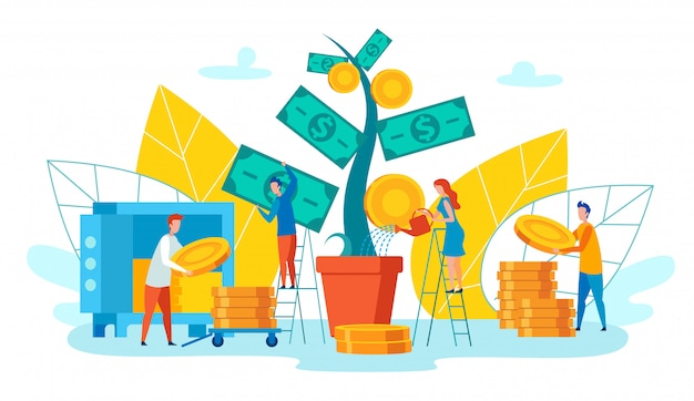 Teammedewerkers verzamelt inkomen vector cartoon.