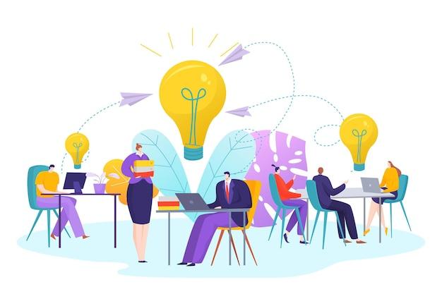 Teammensen werken voor idee, zakelijke teamwerk concept illustratie