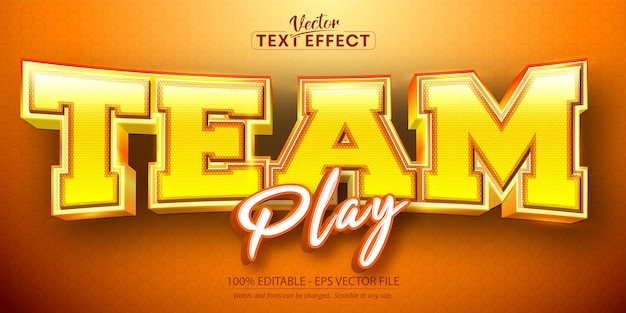 Teamplay-tekst, bewerkbaar teksteffect in sportstijl
