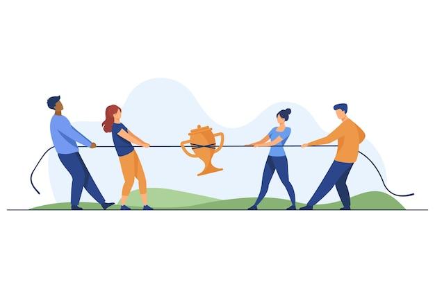 Teams die strijden om de prijs. mensen spelen touwtrekken, touw trekken met gouden beker platte vectorillustratie. competitie, wedstrijdconcept