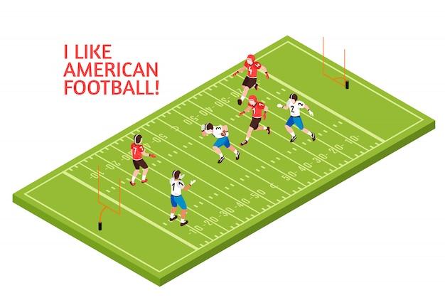 Teams van spelers tijdens amerikaanse voetbalwedstrijd op de groene isometrische illustratie van het speelveld