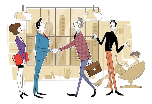 Teamsamenwerking, samenwerking bij het zoeken naar oplossingen, professioneel marketingonderzoek, zakelijke bijeenkomst.