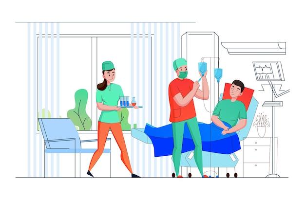 Teamverpleegkundigen van de intensive care van het ziekenhuis bieden medische hulp en ondersteuning aan de patiënt
