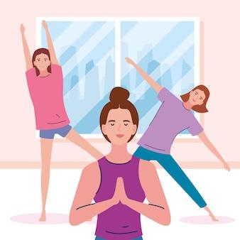 Teamvrouwen die yoga doen
