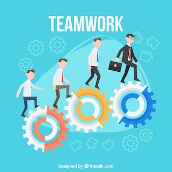 Teamwerk achtergrond in vlakke stijl