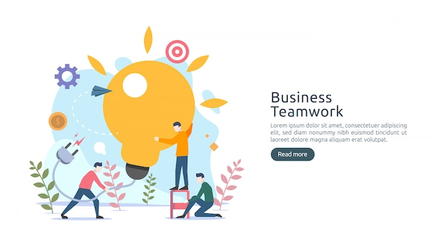 Teamwerk bedrijfs brainstormen idee concept met grote gele gloeilamp lamp, kleine mensen karakter