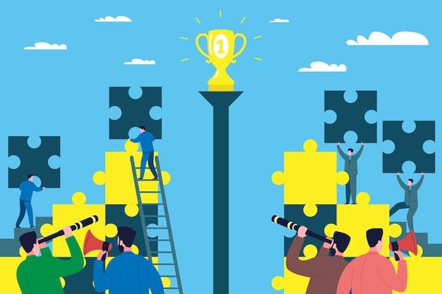 Teamwerk bedrijfsconcept. zakenlieden en werknemers van het bedrijf bouwen een bedrijf op uit puzzels als symbolen van een deel van het bedrijf en concurreren met elkaar om de eerste plaats in de branche