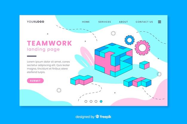 Teamwerk-bestemmingspagina met rubiks kubus