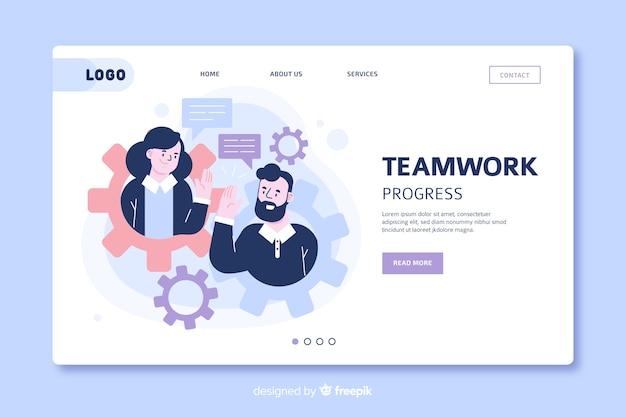 Teamwerk bestemmingspagina sjabloon