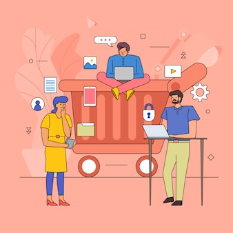 Teamwerk bouwen zakelijke industrie van online winkel. pictogram grafische stijl lijn cartoon. illustreren.