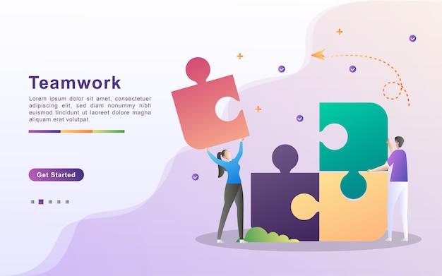 Teamwerk concept. het team werkt samen om het bedrijf te laten groeien. zoek naar manieren om het inkomen te verhogen. bouw een solide team