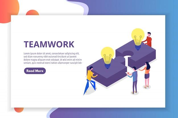 Teamwerk concept isometrisch, mensen die samenwerken, zakelijke teamoplossing. illustratie.