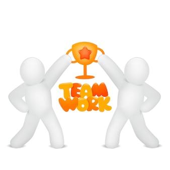 Teamwerk concept kaart met twee stickman karakters houden gouden beker