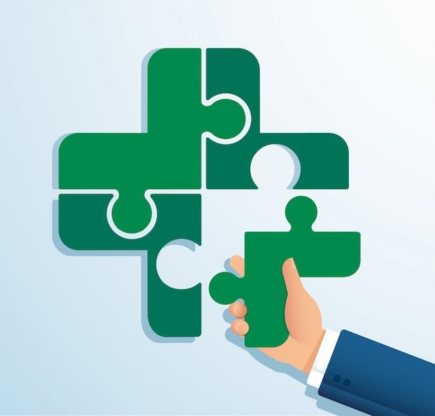 Teamwerk concept. mensen samenstellen van de puzzel gekke icoon
