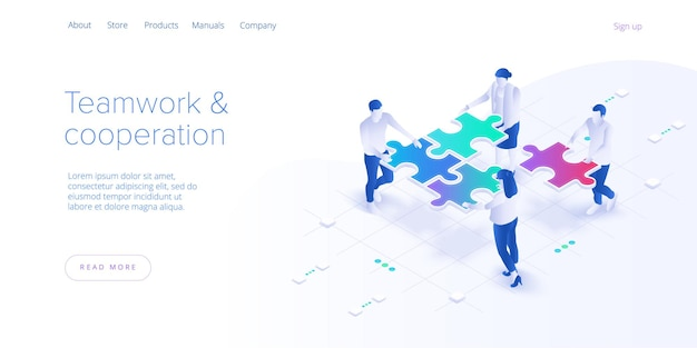 Teamwerk concept. zakelijke team bijpassende stukjes puzzel.