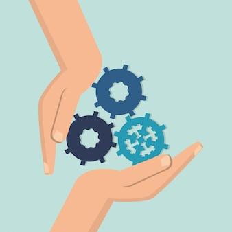 Teamwerk en bedrijfsgerelateerde pictogrammen afbeelding