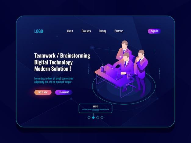 Teamwerk en collectieve vergadering, werkstroom op kantoor, brainstorm concept isometrisch pictogram, herziening van de code