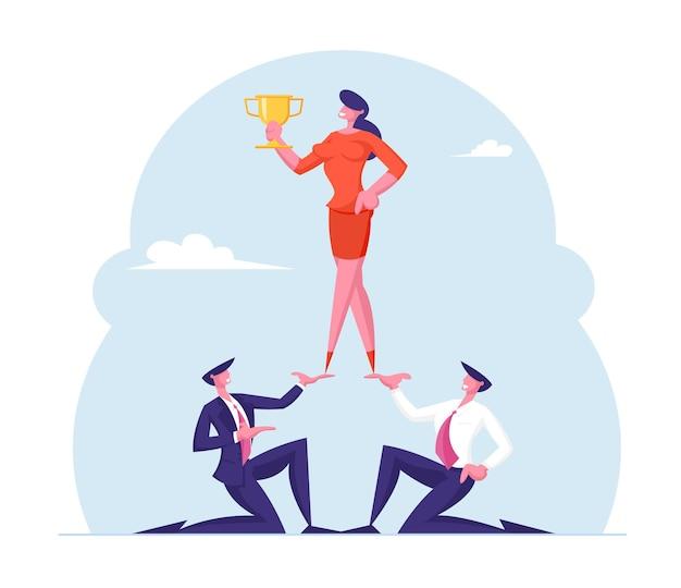 Teamwerk en het bereiken van doelen concept piramide van mensen uit het bedrijfsleven
