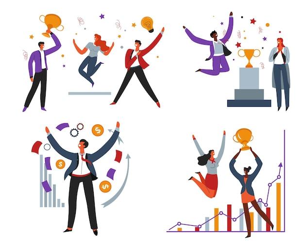 Teamwerk en succes geweldig werk van werknemers vectorbeelden