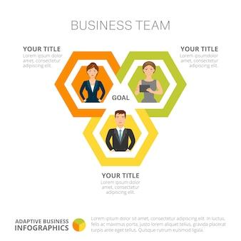 Teamwerk infographics dia sjabloon