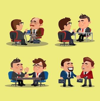 Teamwerk kantoorpersoneel handen schudden na ondertekening contractovereenkomst