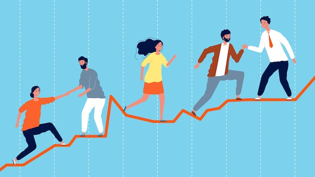 Teamwerk. leiderschapsconcept, business team klimmen op economische grafiek. succesvol werk vectorillustratie. zakenman op grafiek, leiderschap teamwork