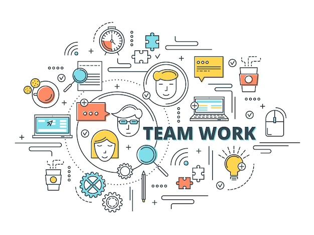 Teamwerk lineair ontwerp