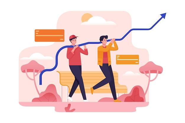 Teamwerk om te groeien en het doel te bereiken