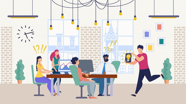 Teamwerk op kantoor op zoek naar een idee
