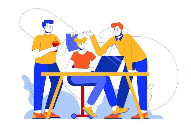 Teamwerk op kantoor webconcept