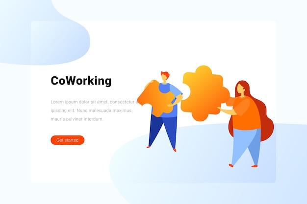 Teamwerk oplossing vlakke afbeelding concept