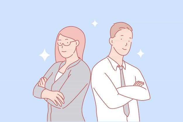 Teamwerk, partnerschap, gendergelijkheid concept