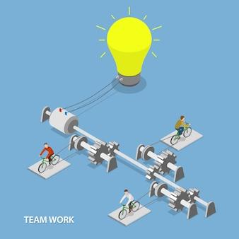 Teamwerk plat isometrisch
