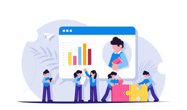 Teamwerk. presentatie of videoconferentie in de browser. groeischema. het gezamenlijke werk van de mensen