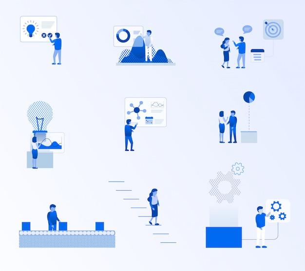 Teamwerk proces metafoor zakelijke succes set
