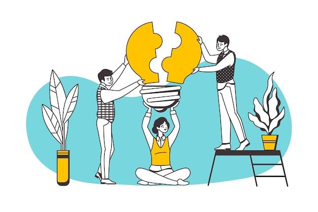 Teamwerk puzzel concept. mensen stripfiguren die carrière, zakelijk partnerschap en samenwerking opbouwen. vector die puzzelelementen assembleert, gloeilamp als bedrijfsidee of teamwerkstrategie