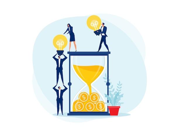 Teamwerk transport gloeilamp druppel zandloper of idee is geld. creativiteit bedrijfsconcept