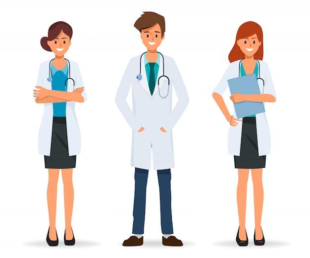 Teamwerk van arts karakter in ziekenhuisontwerp en medische zorgmensen.