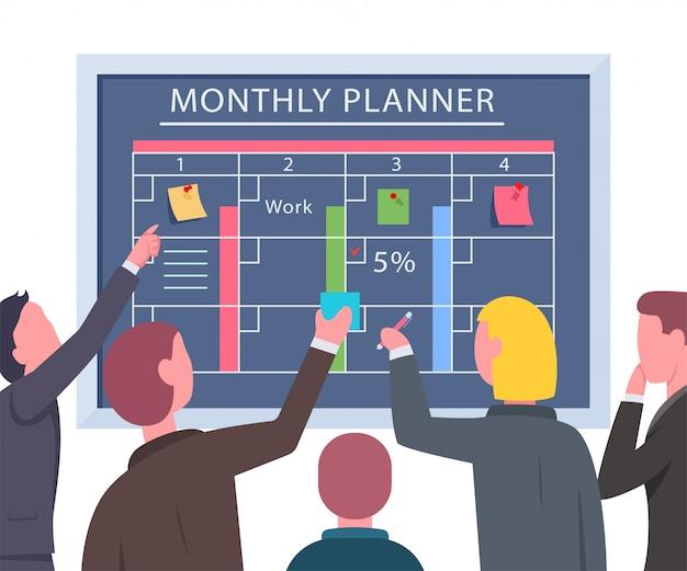 Teamwerk van zakenlieden bij het planbord. vector vlakke illustratie van bureaumensen die aan een project werken.