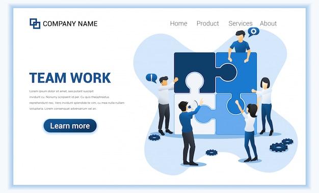 Teamwerk web banner concept. mensen verbinden stuk puzzel. zakelijk leiderschap, partnerschap, teammetafoor. vlakke afbeelding